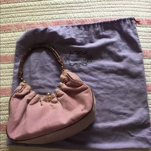 Lulu Guinness Lilac Corduroy and Leather Bag